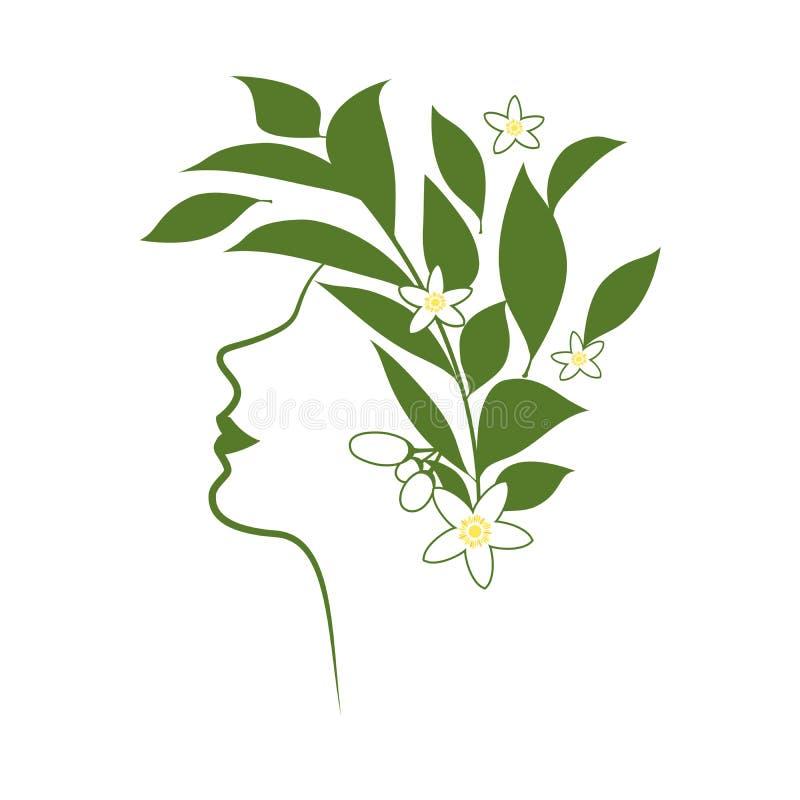 Profilez la ligne de la femme avec des fleurs et des feuilles oranges de fleur illustration libre de droits