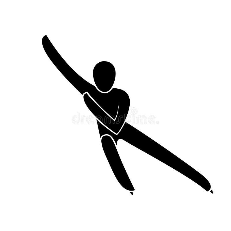Profili breve l'illustrazione di vettore isolata di pattinaggio di velocità della pista atleta illustrazione di stock