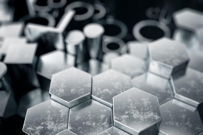 Profili d'acciaio del metallo cilindrico, profili d'acciaio del metallo esagonale, profili quadrati dell'acciaio del metallo Acci illustrazione di stock