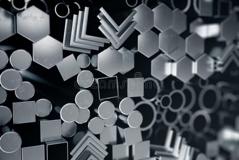 Profili d'acciaio del metallo cilindrico, profili d'acciaio del metallo esagonale, profili quadrati dell'acciaio del metallo Acci royalty illustrazione gratis