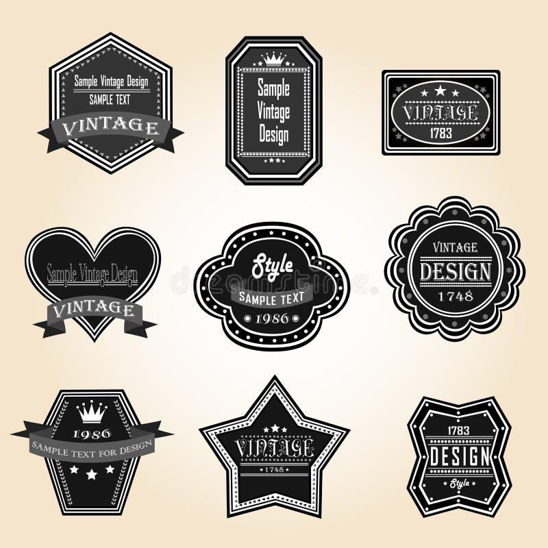 Profili d'annata ed i retro distintivi progettano con il testo del campione (vec illustrazione vettoriale