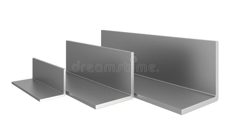 Profili dell'acciaio inossidabile su un fondo bianco illustrazione vettoriale