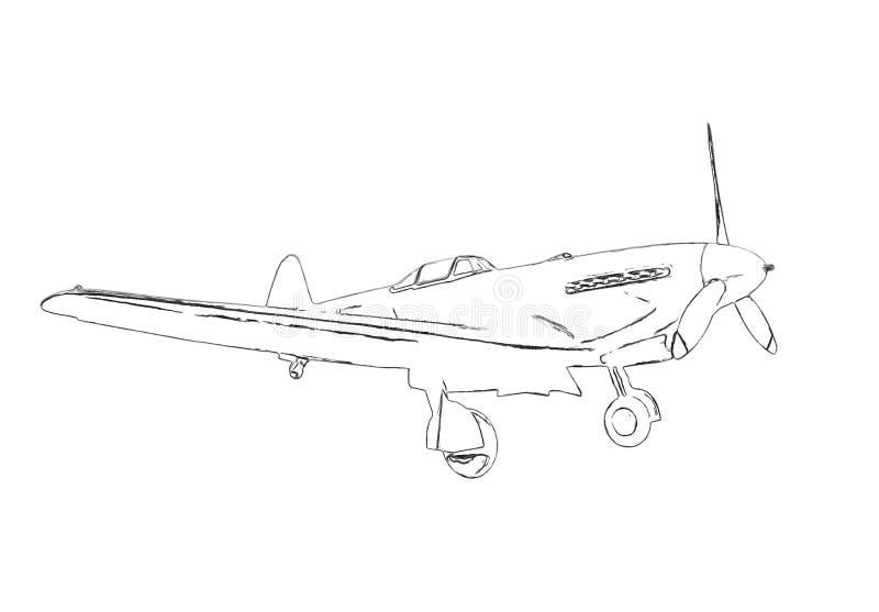 Profili di vecchio aereo militare royalty illustrazione gratis