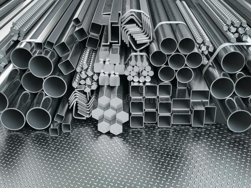 Profili e tubi di acciaio inossidabile in background magazzino Prodotti laminati in metallo diversi fotografie stock