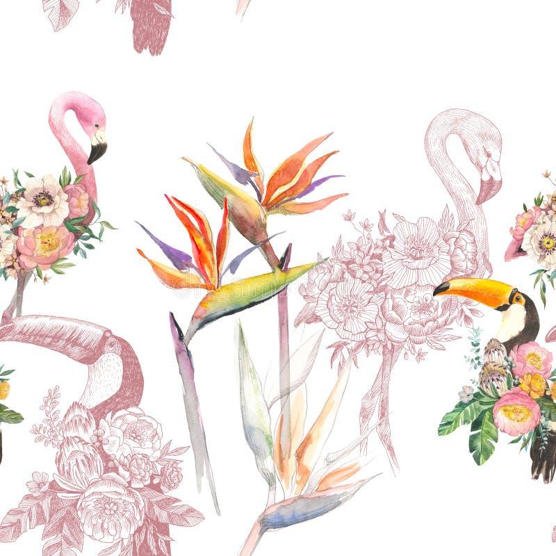 Profili gli uccelli esotici tropicali fenicottero e tucano degli animali nella carta da parati della pianta della giungla Modello royalty illustrazione gratis