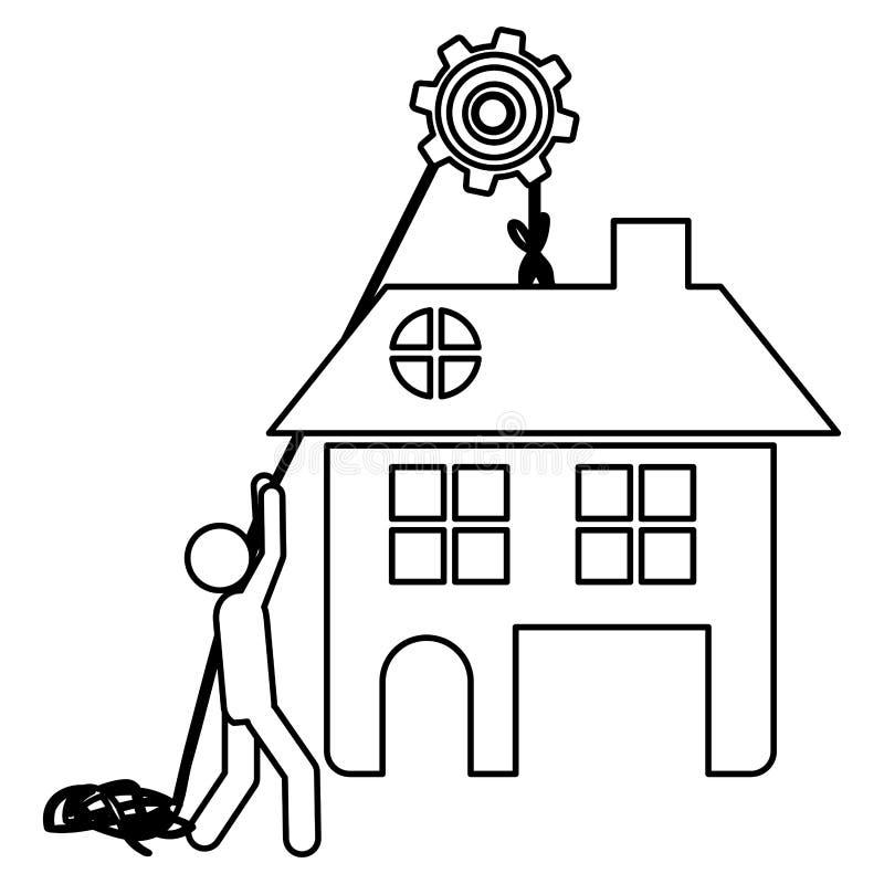 Profili i lavoratori con la puleggia che tiene la grande casa con due pavimenti illustrazione di stock