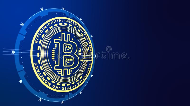 Profili il bitcoin di cryptocurrency della moneta di oro su un fondo blu illustrazione di stock