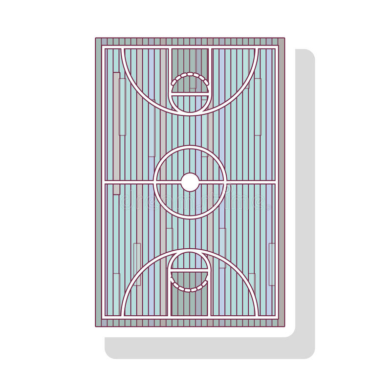 profili il colore pastello del campo di pallacanestro con ombra royalty illustrazione gratis