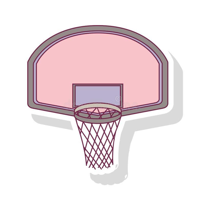 Profili il colore pastello del cerchio di pallacanestro arrotondato con ombra illustrazione di stock