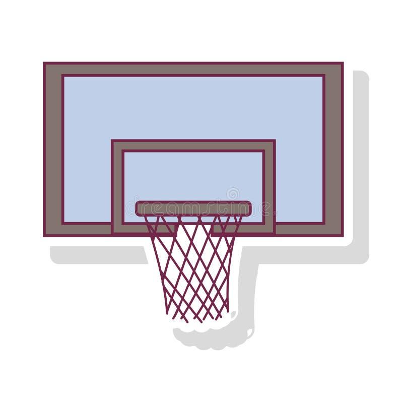 Profili il colore pastello del cerchio di pallacanestro quadrato con ombra royalty illustrazione gratis