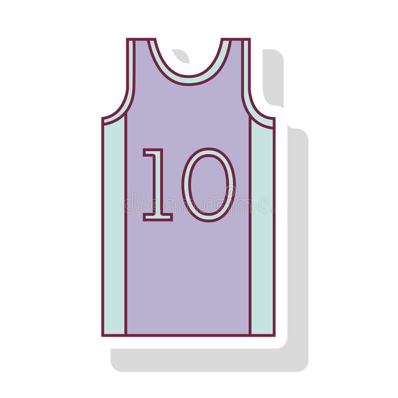 Profili il colore pastello della maglietta il numero dieci di pallacanestro illustrazione vettoriale
