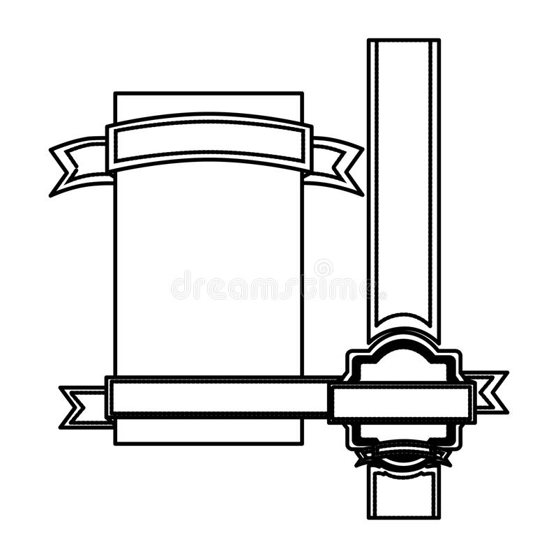 profili il confine araldico con il nastro lungo e l'insegna decorativa illustrazione vettoriale