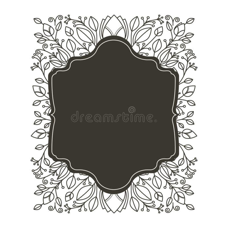 Profili il confine araldico con progettazione floreale dell'ornamento decorativo illustrazione vettoriale