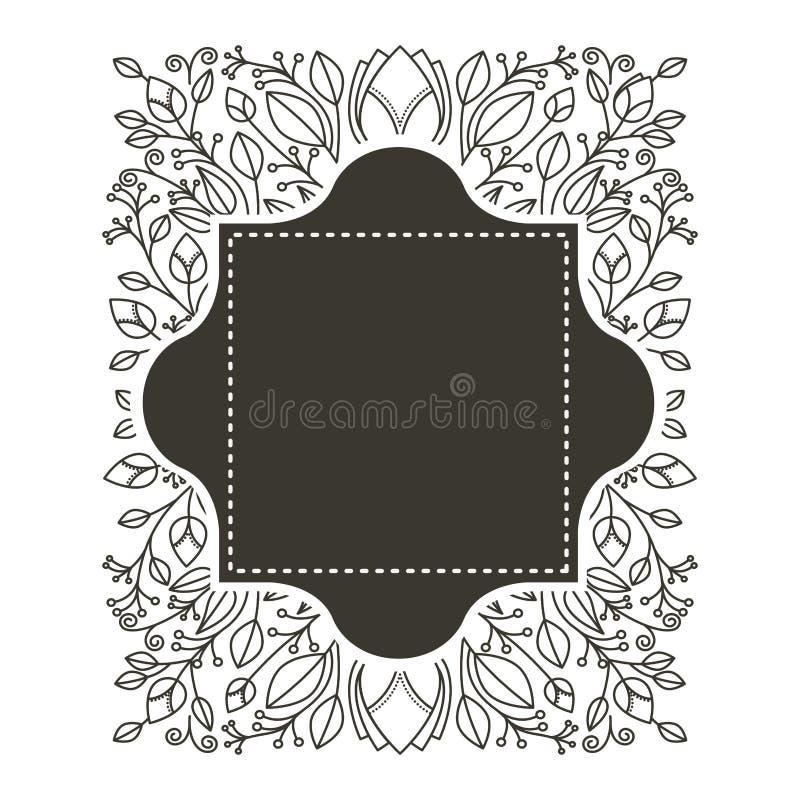 Profili il confine araldico e l'ornamento decorativo floreale con il quadrato punteggiato illustrazione di stock