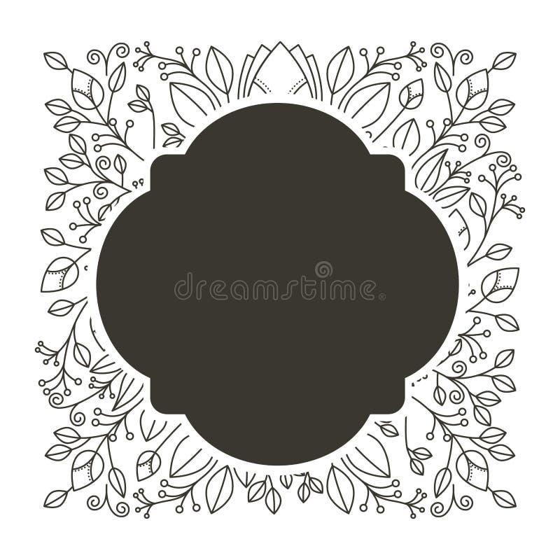 Profili il confine arrotondato araldico con l'ornamento decorativo floreale illustrazione di stock