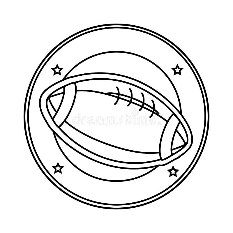 Profili il confine circolare con la palla di calcio in diagonale illustrazione di stock