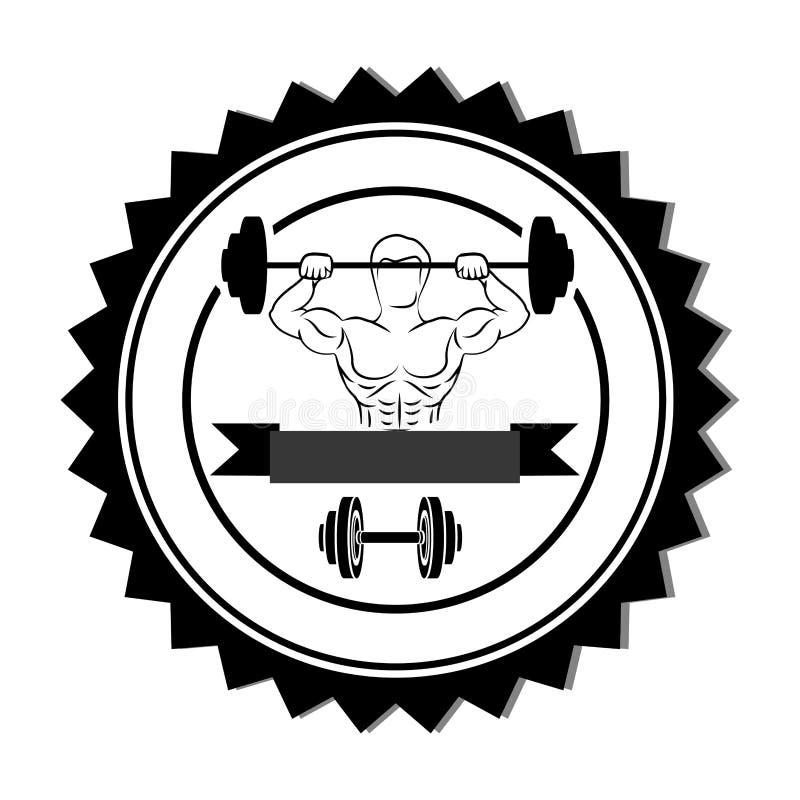 profili il confine del bollo con l'uomo del muscolo pesi di sollevamento ed etichetta di un disco con la testa di legno illustrazione di stock