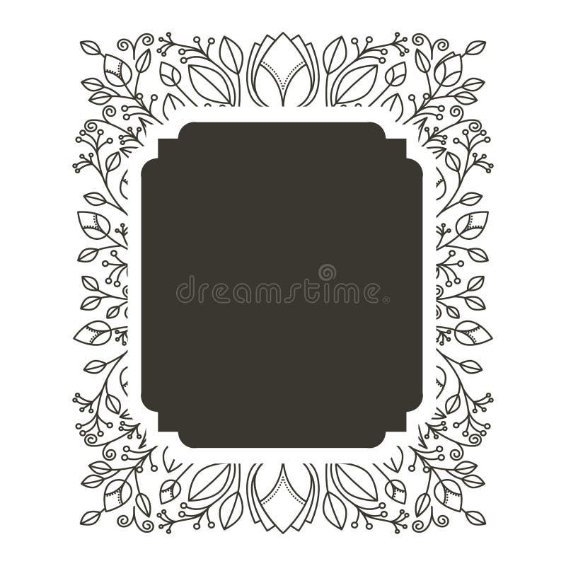 Profili il confine di rettangolo araldico con l'ornamento decorativo floreale illustrazione di stock