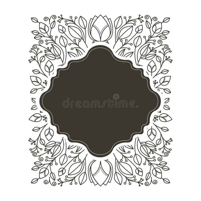 Profili il confine irregolare araldico con l'ornamento decorativo floreale royalty illustrazione gratis