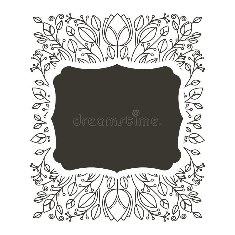 Profili il confine orizzontale araldico con l'ornamento decorativo floreale illustrazione vettoriale
