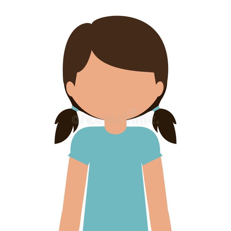 profili il mezzo ente teenager con la maglietta e gli shorts senza fronte illustrazione vettoriale