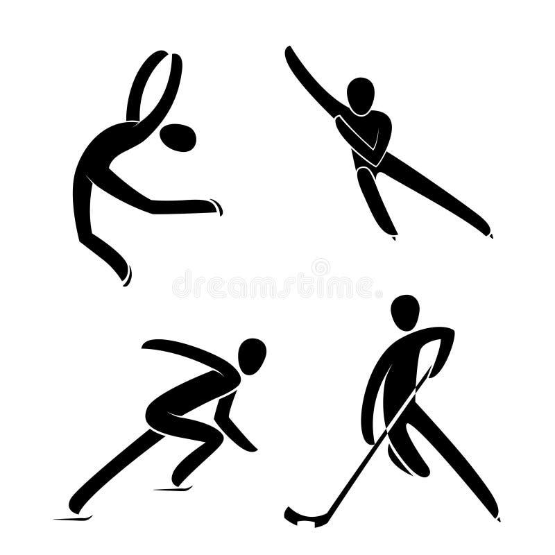 Profili il pattinaggio artistico del ghiaccio, il giocatore di hockey, breve pattinaggio di velocità della pista isolato illustrazione vettoriale