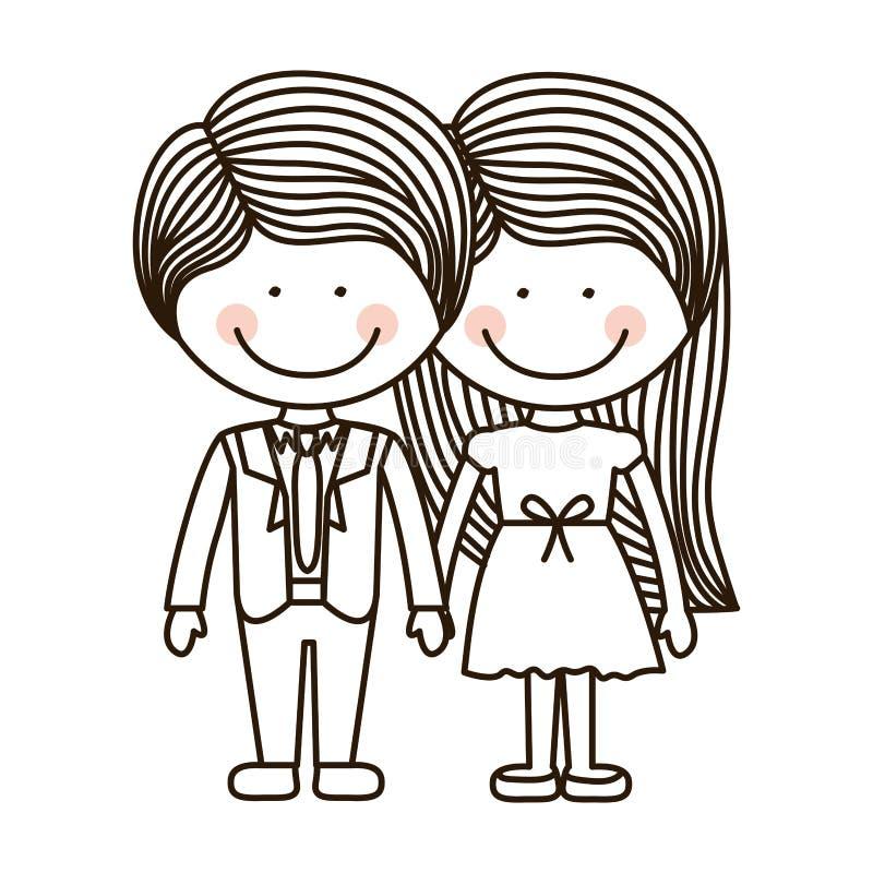 Profili il ragazzo e la ragazza che stanno con il vestito convenzionale royalty illustrazione gratis