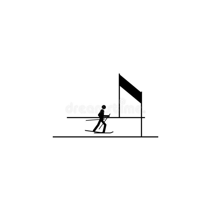 Profili il rivestimento dell'icona isolata atleta dello sciatore Disciplina dei giochi degli sport invernali Illustrazione in bia illustrazione vettoriale