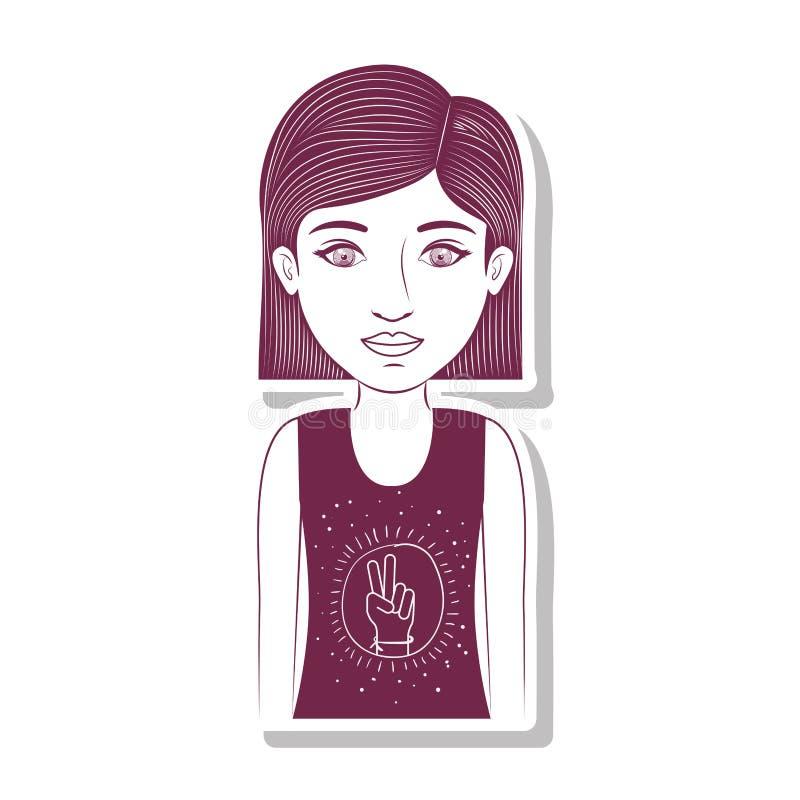 Profili l'adolescente con il simbolo di amore e di pace in maglietta royalty illustrazione gratis