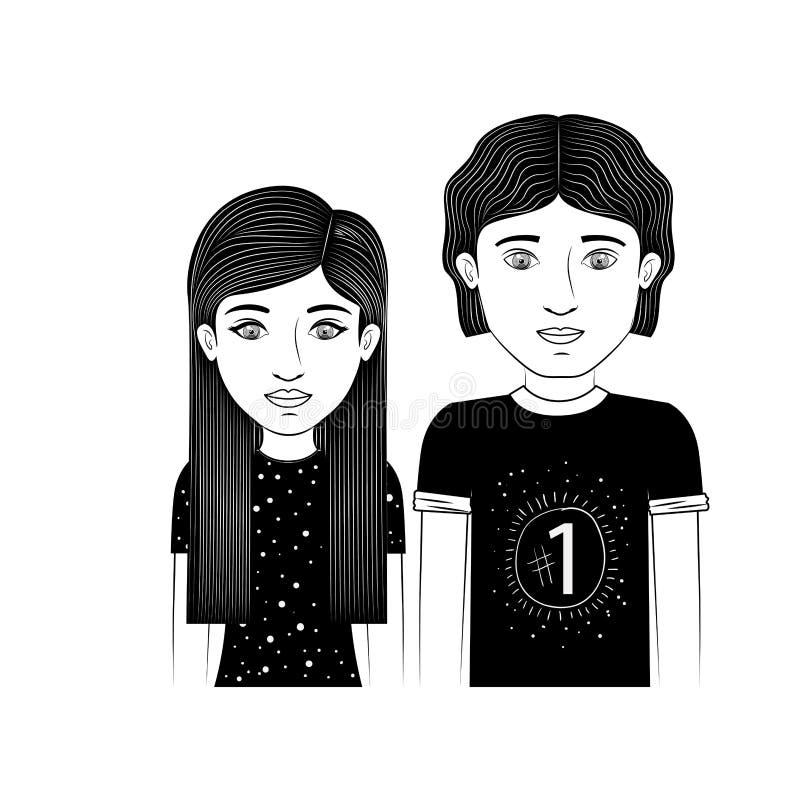 Profili l'adolescente delle coppie con capelli diritti ed ondulati royalty illustrazione gratis