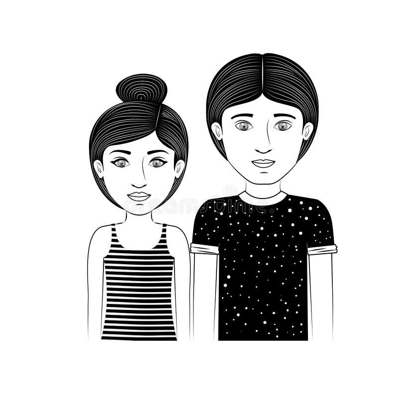Profili l'adolescente delle coppie con capelli e l'acconciatura raccolti royalty illustrazione gratis