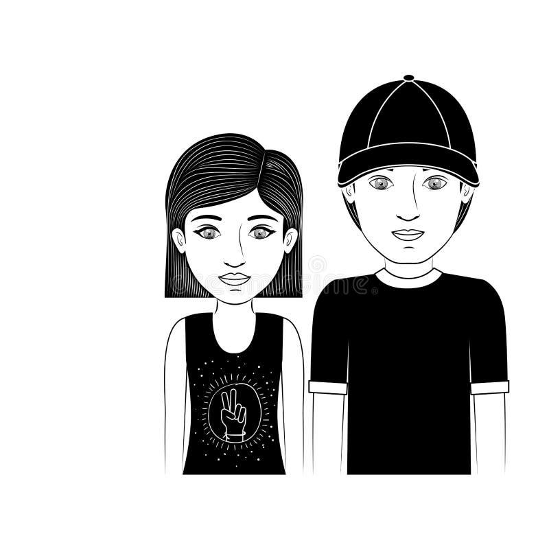 Profili l'adolescente delle coppie con i capelli ed il cappello di scarsità illustrazione di stock
