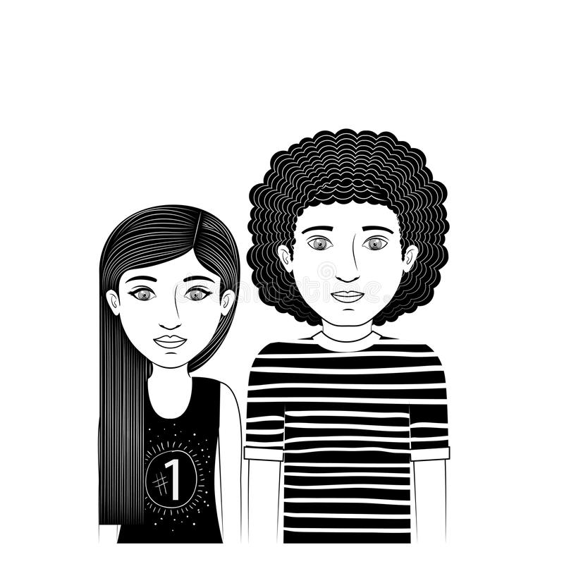 Profili l'adolescente delle coppie con straigth e capelli ricci illustrazione di stock