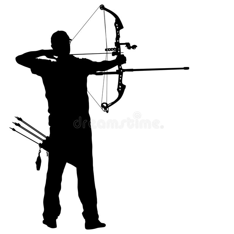 Profili l'arcere maschio attraente che piega un arco e che tende nell'obiettivo illustrazione di stock