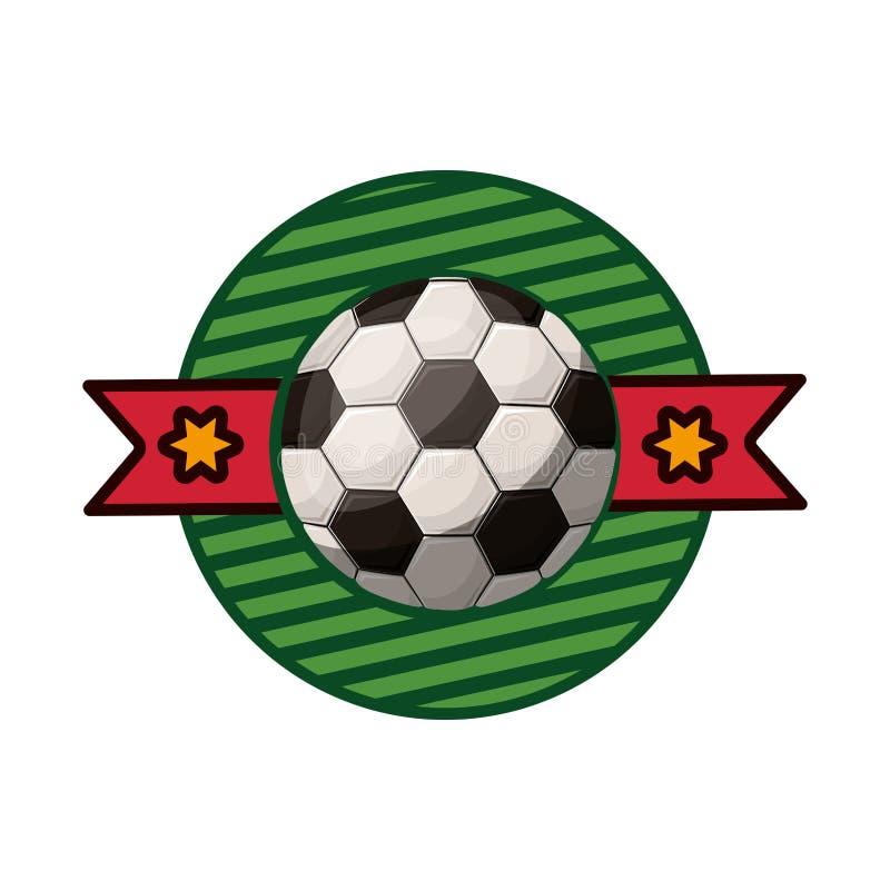 Profili l'emblema di colore con pallone da calcio ed il nastro nel mezzo illustrazione di stock