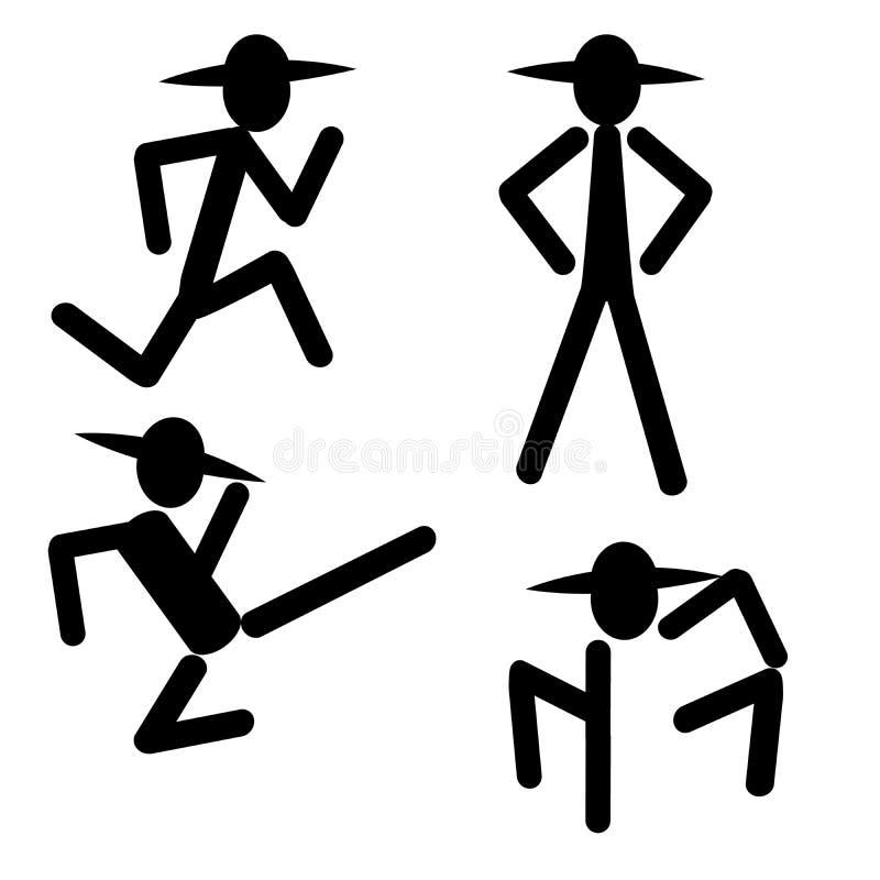 Profili l'uomo che dà dei calci eseguendo il vettore diritto di logo dell'insegna dell'icona illustrazione vettoriale