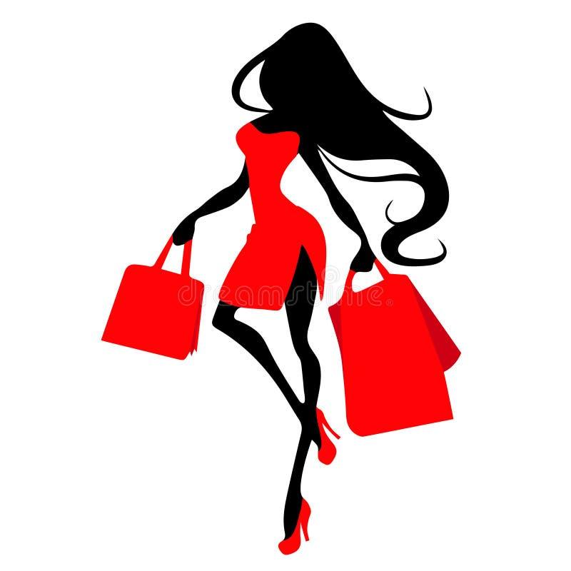 Profili la donna con il sacchetto della spesa, modello dell'insegna di vettore per acquisto femminile illustrazione vettoriale