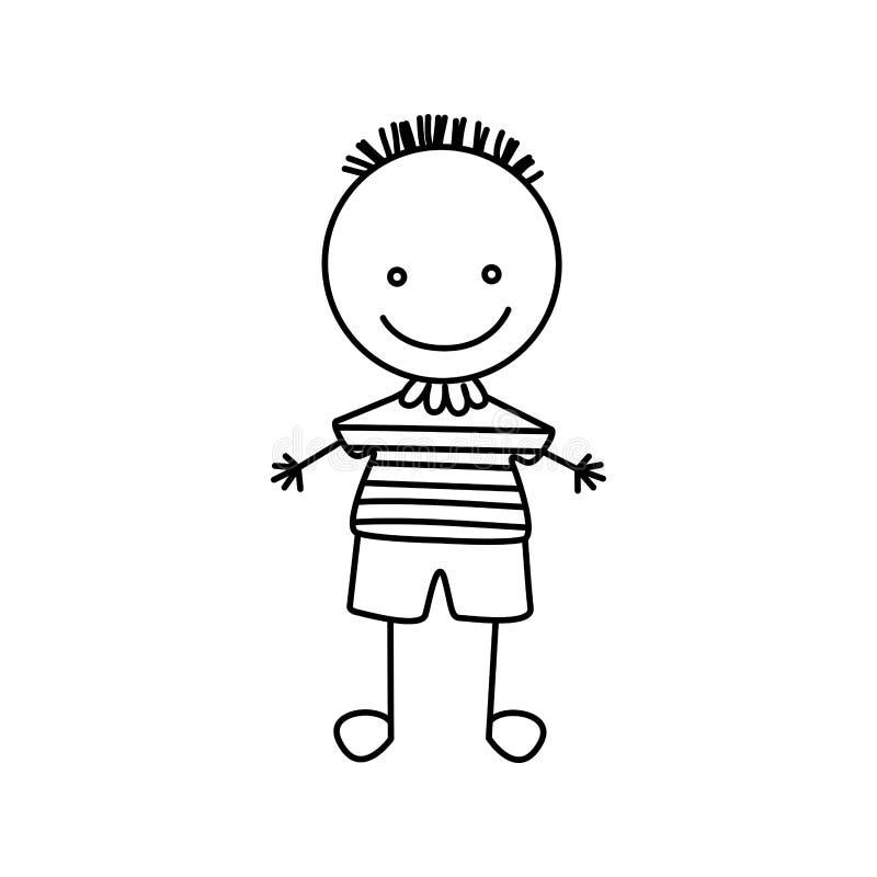 profili la mano che disegna il ragazzo sveglio con la camicia a strisce royalty illustrazione gratis