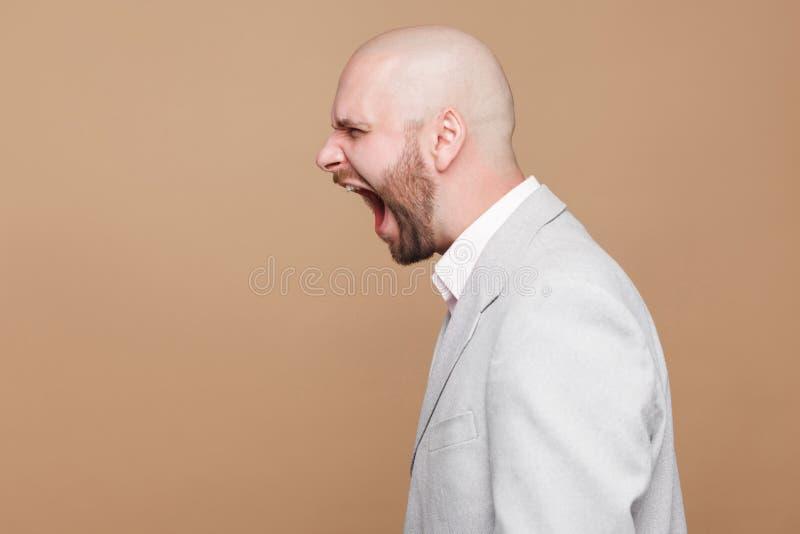 Profili la rabbia pazza del ritratto di vista laterale della barba calva invecchiata mezzo fotografia stock