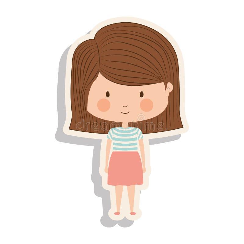 Profili la ragazza con capelli ed ombra a strisce marroni illustrazione di stock