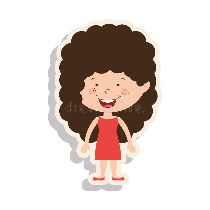 Profili la ragazza in vestito e capelli ricci con ombra illustrazione vettoriale