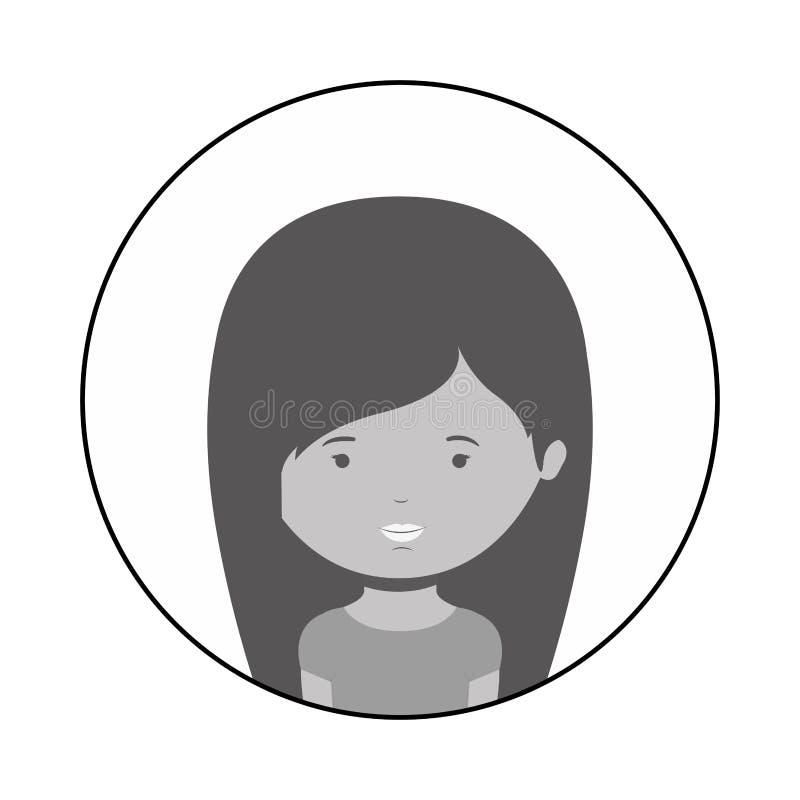 Profili la sfera di mezza donna del corpo con capelli lunghi royalty illustrazione gratis