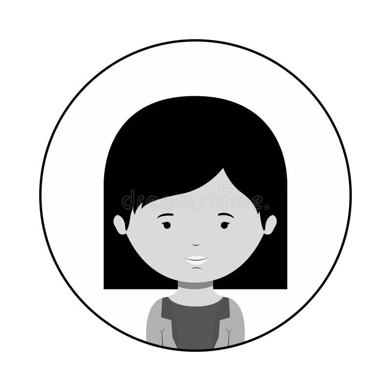 Profili la sfera di mezza donna del corpo con i capelli di scarsità royalty illustrazione gratis