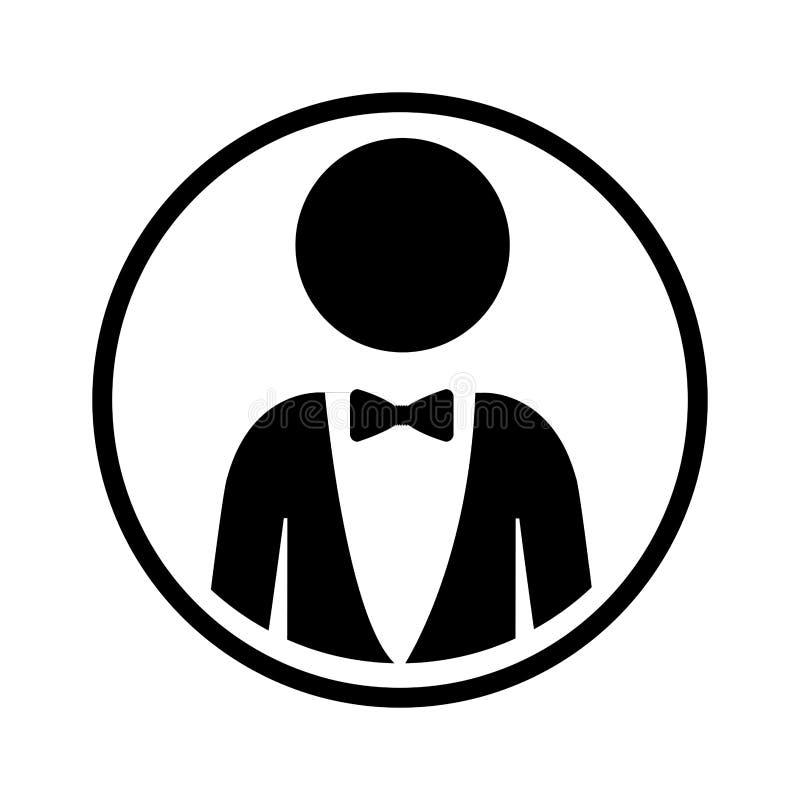 Profili la sfera di stile convenzionale del mezzo del corpo uomo dell'icona con la cravatta a farfalla illustrazione di stock