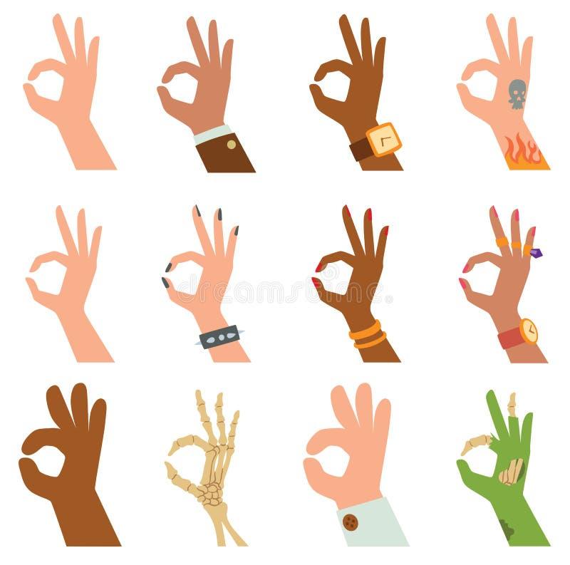 Profili le mani che mostrano il simbolo dell'illustrazione tutto il giusta di vettore del pollice del dito illustrazione di stock
