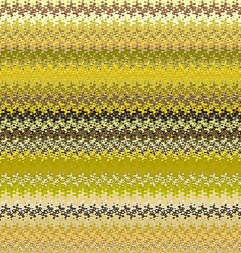 Profili ondulati dell'estratto della pittura di Digital in tonalità differenti di giallo, di verde e di Gray Colors Background illustrazione vettoriale