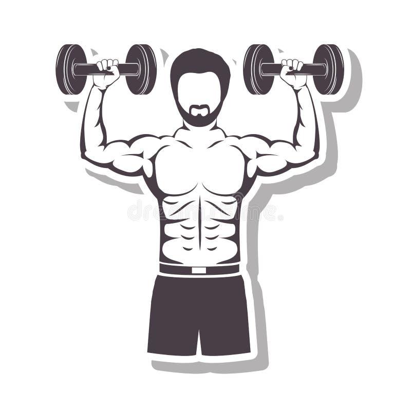 Profili in rilievo un uomo del muscolo pesi di sollevamento di un disco royalty illustrazione gratis