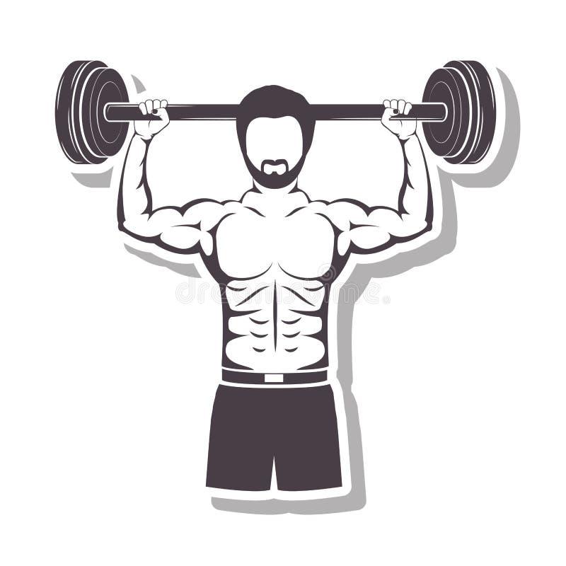 Profili in rilievo un uomo del muscolo pesi di sollevamento di una barra royalty illustrazione gratis