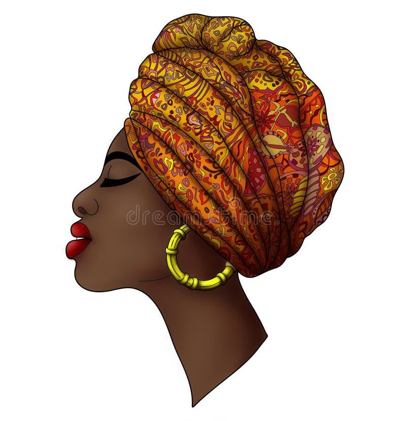 Profilieren Sie Porträt der schönen jungen afrikanischen Frauenorange stockfoto