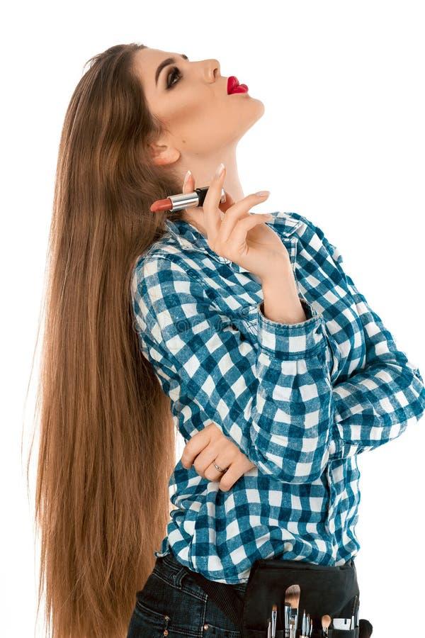 Profilieren Sie Porträt jungen beaitufl Mädchens mit Lippenstiftzigarette stockbilder